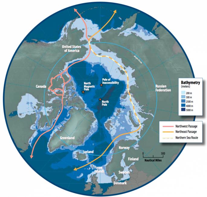 La ruta del barco por el artico está marcada en amarillo