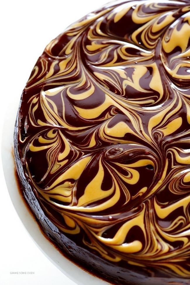 torta de chocolate y mantequilla de maní-terminada