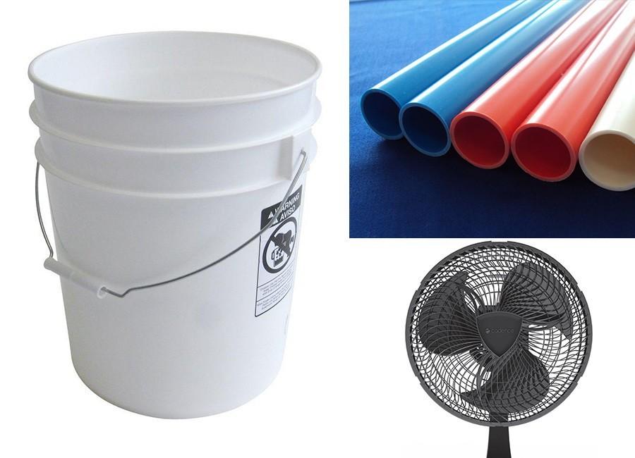 Aire acondicionado casero, reciclado y portátil - materiales