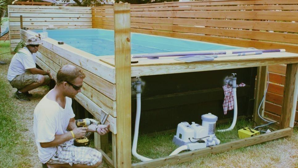 armado de piscina con maderas