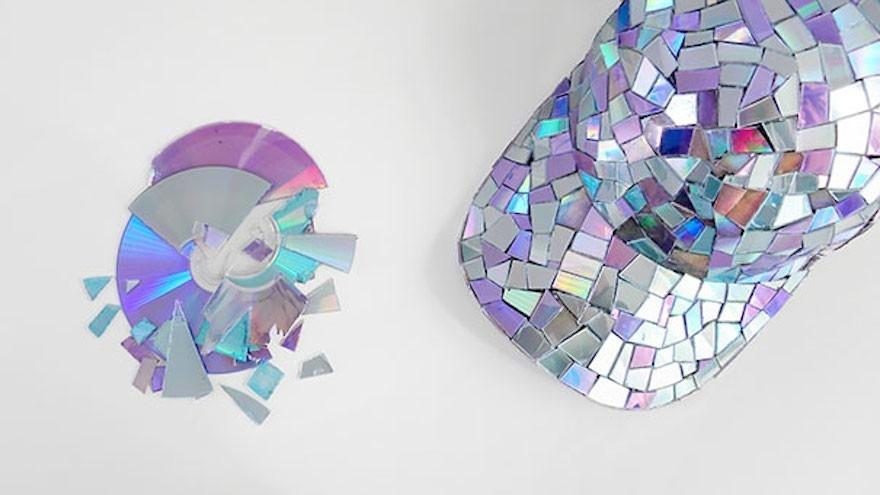 CDs reutilizados - gorra