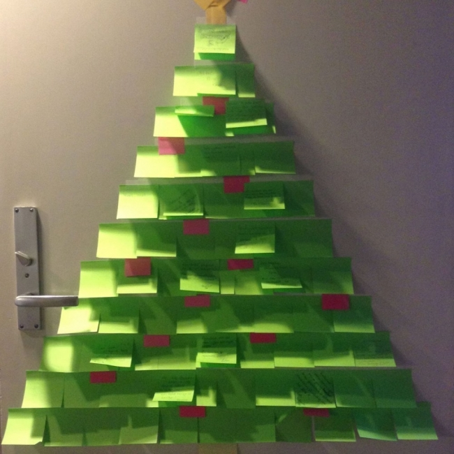 Árboles de Navidad para espacios pequeños - post-it