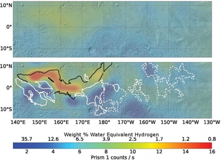 Niveles de agua congelada descubiertos en Marte