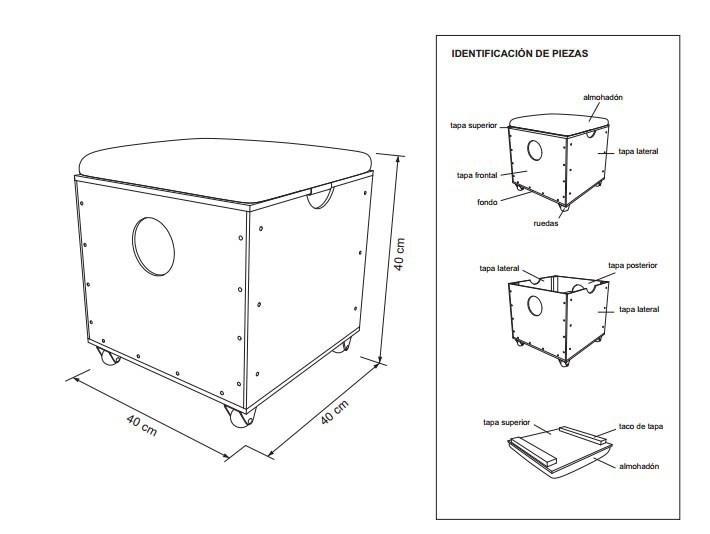 asiento cubo- esquema- construir- planos