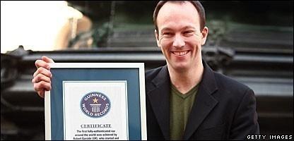 Garside recibió el Guinness el 27 de marzo de 2007