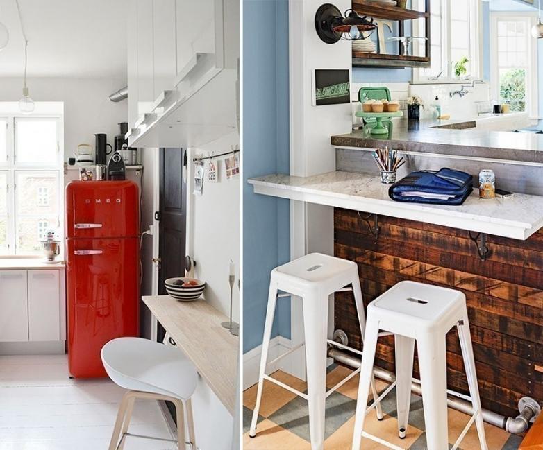 12 ideas para armar una práctica barra en la cocina- barras integradas