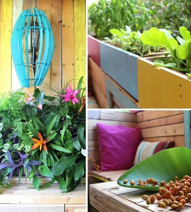Remodela tu pequeño espacio con este living tropical hecho de pallet- plantas