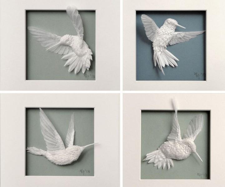 Hermosos colibríes hechos de papel