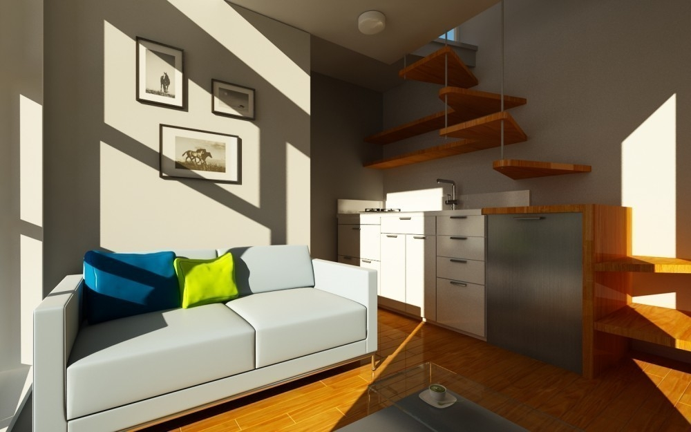 Una casita diminuta para dos, de construcción rápida y barata- sala