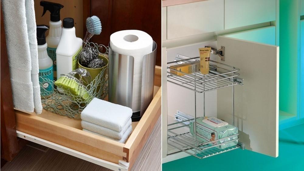 baños pequeños - estantes deslizantes