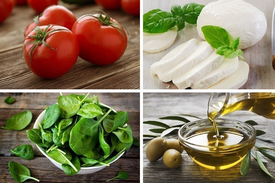 Tarta capresse con espinacas- ingredientes