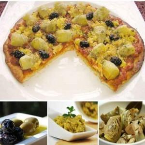 pizza de alcauciles y pasta de aceitunas verdes