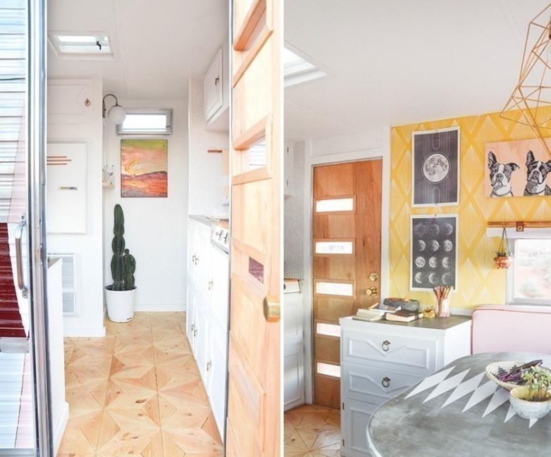 casa rodante interior reformado comedor