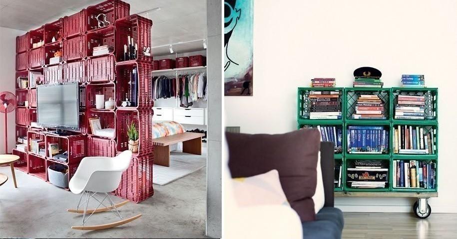 Muebles con cajones plásticos de cerveza - bibliotecas