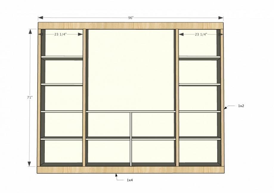 Mueble-estantería multifuncional con puertas corredizas - estantes