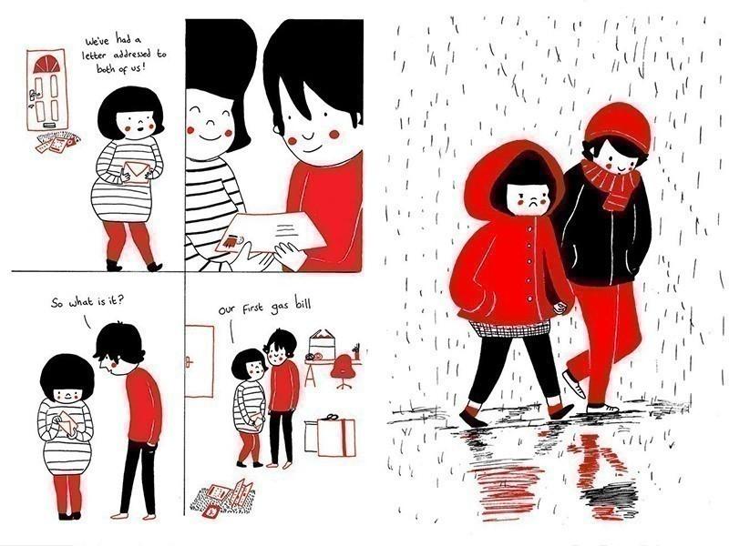 Ilustraciones del amor en las pequeñas cosas- lluvia