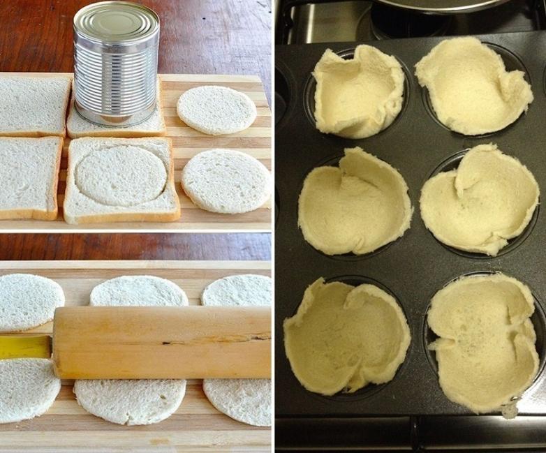 Quiches con masa de pan de molde y vegetales - cortar el pan de molde en círculos