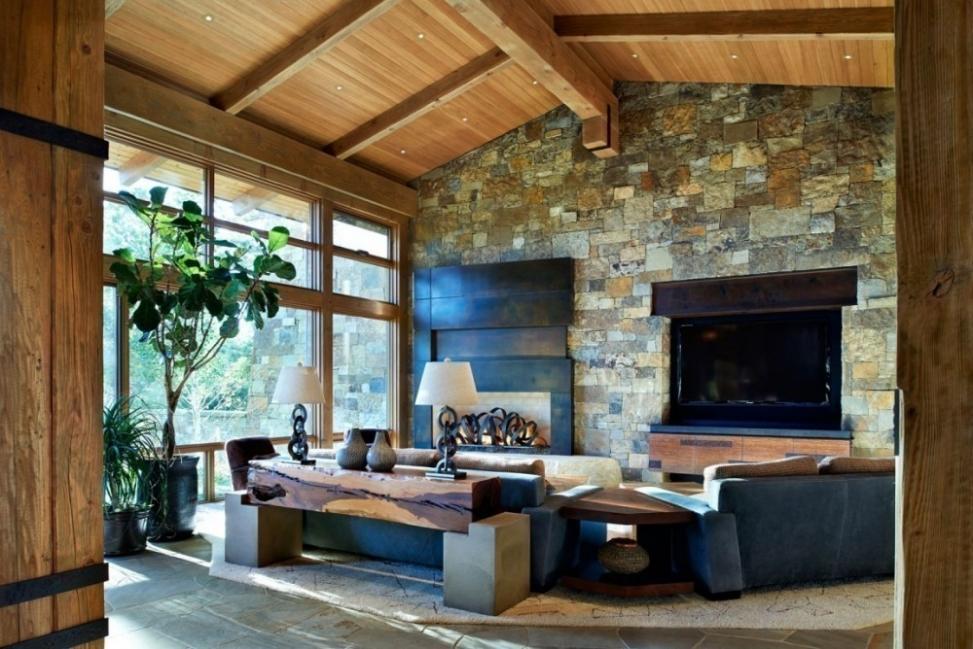 renovar tus espacios con falsa piedra- sala en el hogar