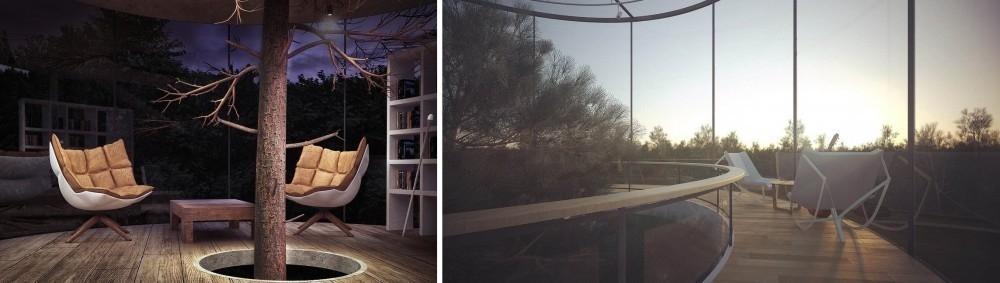 casa del árbol de lujo - interior