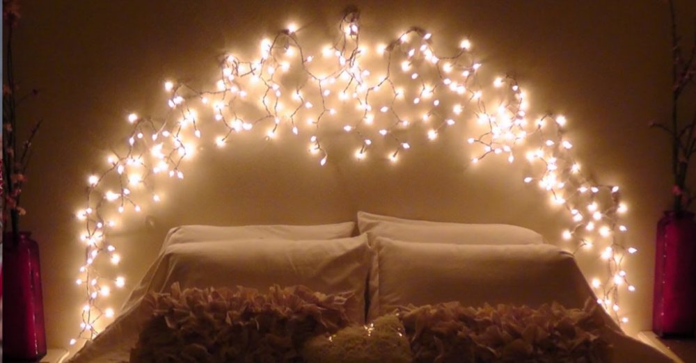 Decorar con luces en cadena - cama