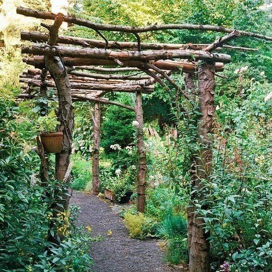 gazebos- Rincones cubiertos para disfrutar del aire libre - troncos