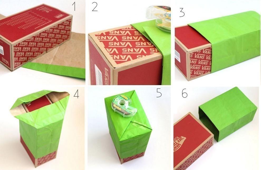 Bolsas de regalo rápidas con papel reciclado - paso a paso