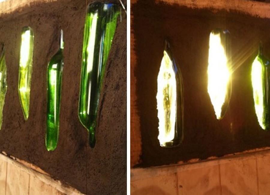 ventana con botellas de vidrio - relleno