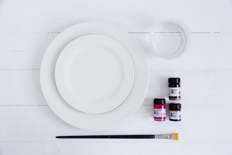 Cómo hacer watercolor para renovar tus platos- materiales