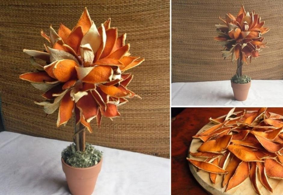 Artesanías con cáscara de naranja- arbol