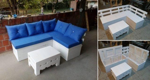sofá de pallet con almacenamiento