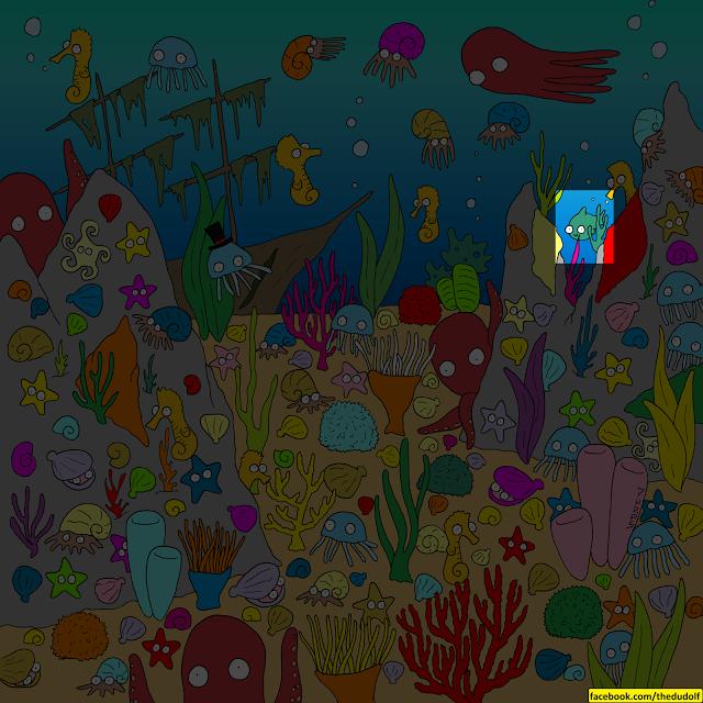 desafío visual encuentra al pez solución