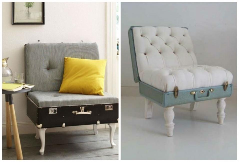 decoración con maletas - sillones