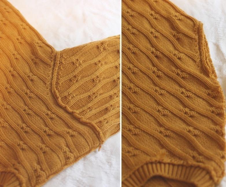 suéter viejo en un cómodo puff - cortar las mangas