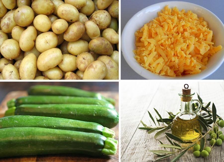 Paquetitos crocantes de zucchini, patata y queso - ingredientes