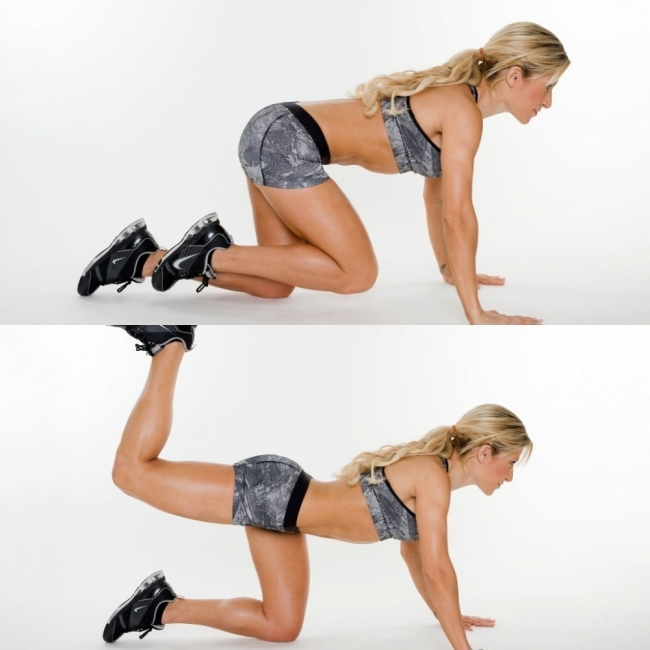 Elevacion de piernas de rodillas