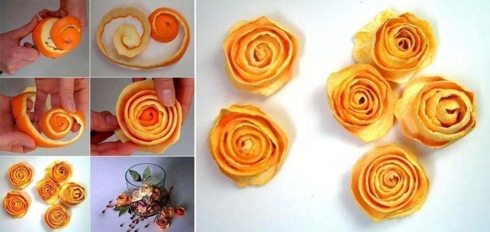 Artesanías con cáscara de naranja- rosas