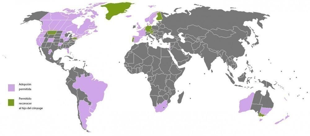 Matrimonio igualitario- mapa Familias homoparentales