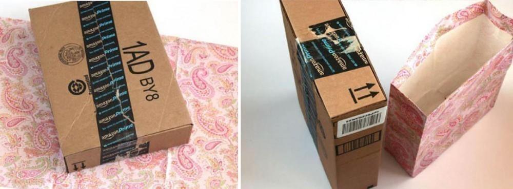 Bolsas de regalo rápidas con papel reciclado - caja