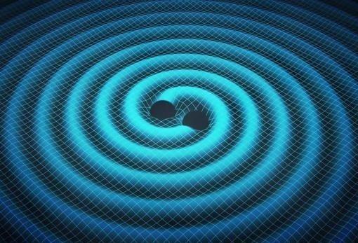 Representación de las ondas gravitacionales generadas en la fusión de agujeros negros