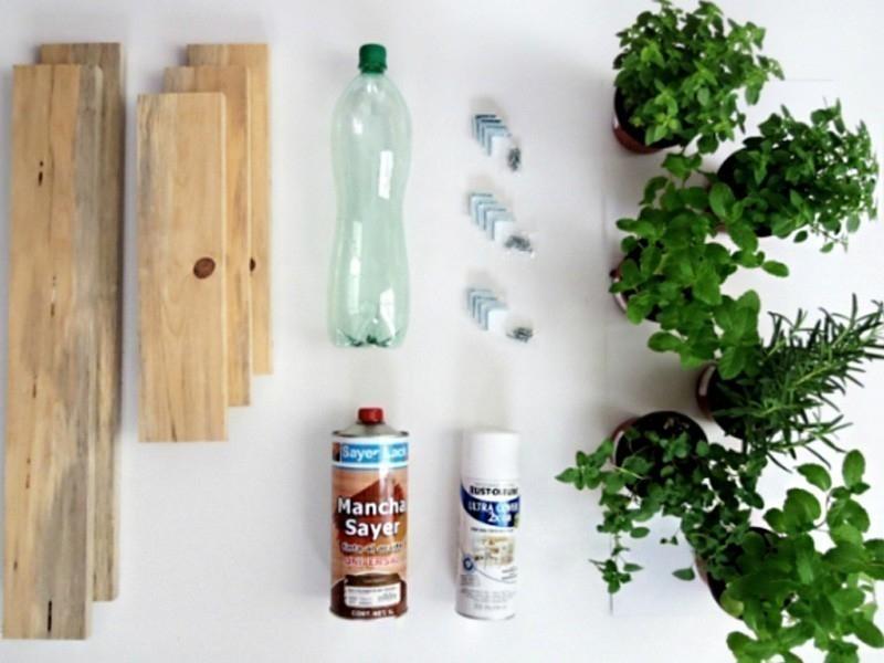hacer un pequeño jardín aromático vertical- materiales