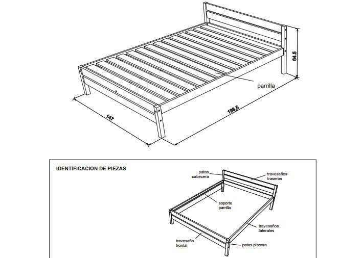 cama de dos plazas- esquema- construir- planos