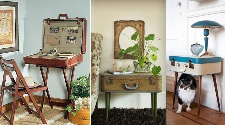 decoración con maletas - mesas auxiliares