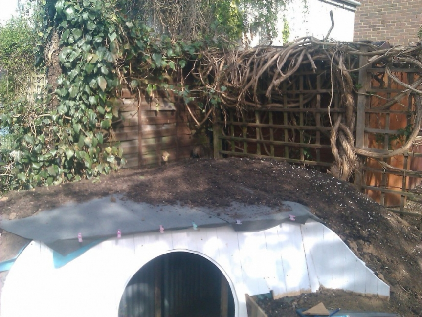 casa hobbit - techo