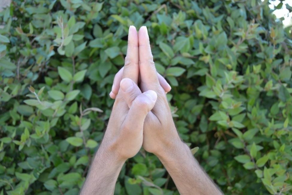 mudras- posiciones de manos yoga- Atmajali mudra