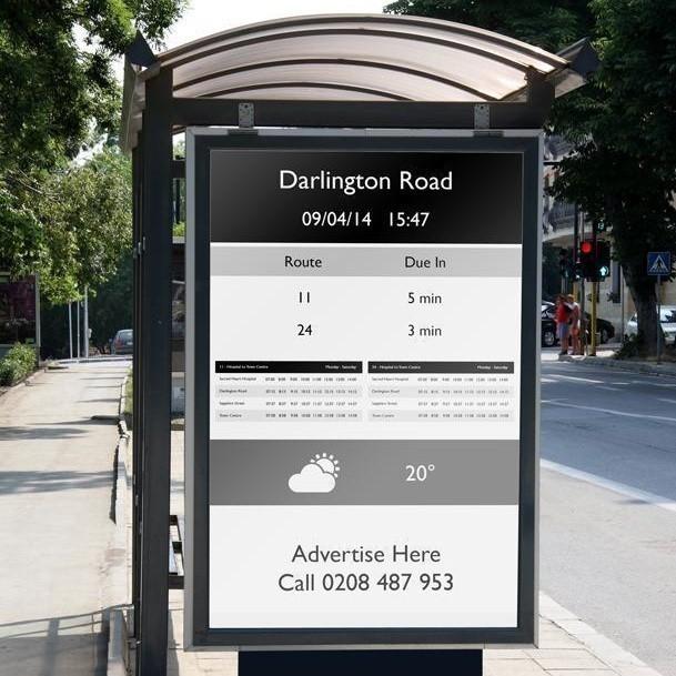paradas de autobus solares con tinta electrónica en Londres- carteles