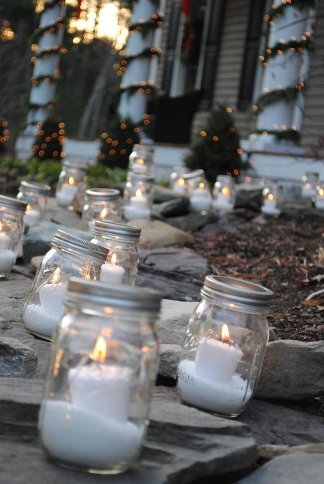 Ideas para decorar tus velas navideñas - entrada con velas