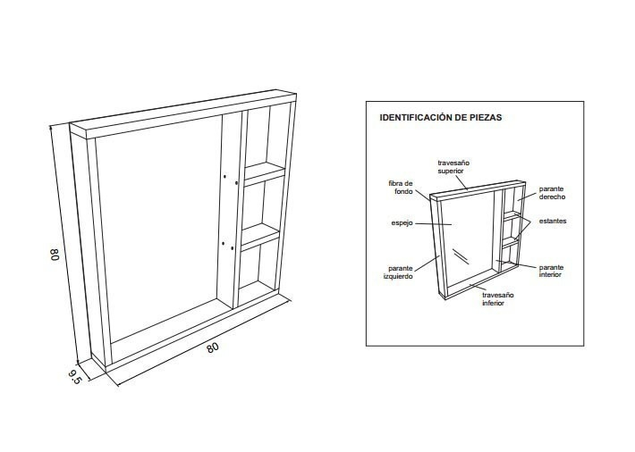 espejo con estantes - esquema- construir- planos