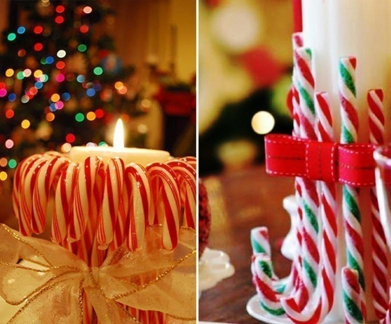 Ideas para decorar tus velas navideñas - velas con dulces