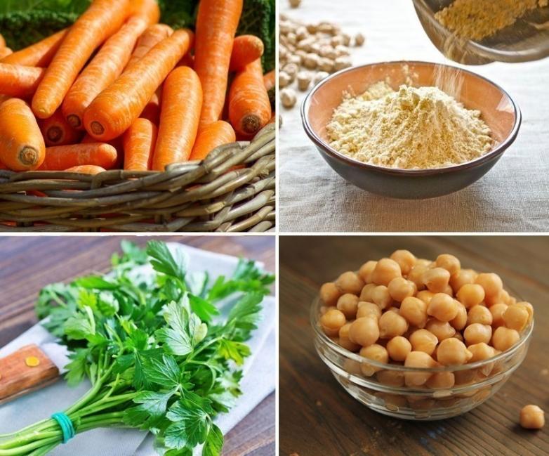 Hamburguesas de falafel con zanahoria- ingredientes