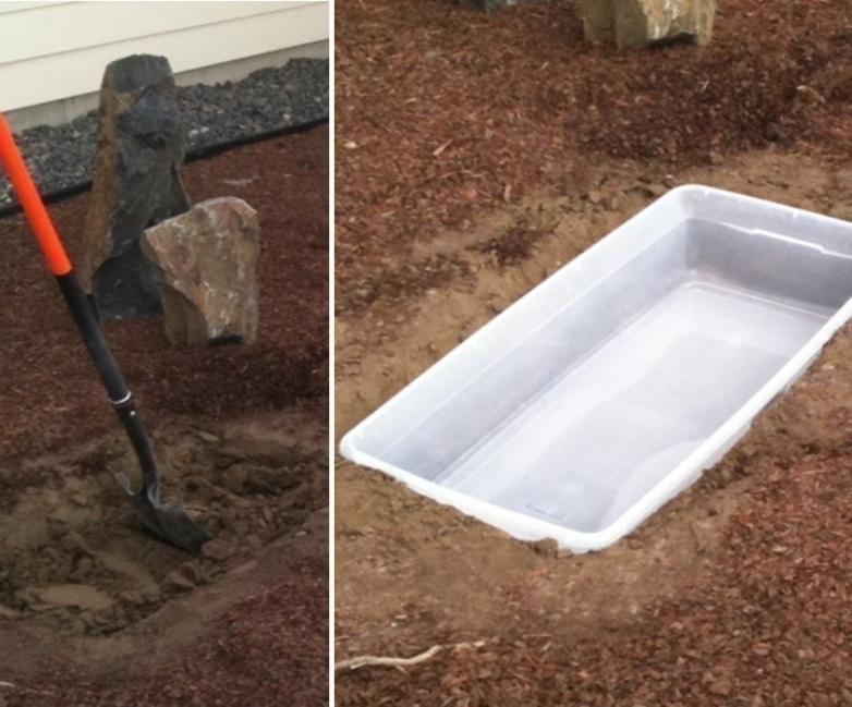 hacer una fuente para tu jardín- cavar y colocar el contenedor